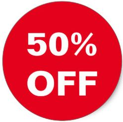 50% off sale in red circle