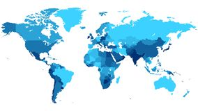 Map of World in Shades of Blue