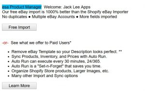 eBay Shopify Free Import or Paid choice