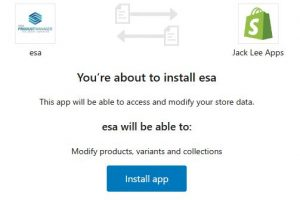 esa Product Manager Installation Confirm Shopify