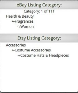 eBay to Etsy Mapping Categories