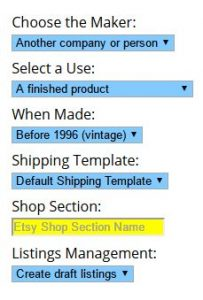 eBay Etsy Import Defaults for this category