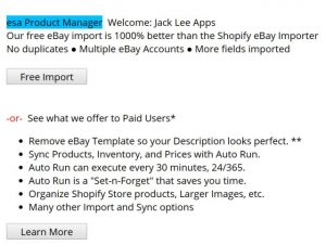 esa Product Manager Shopify Welcome New User screen