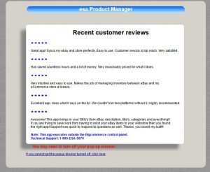 BigCommerce landing page with reviews of esa Product Manager