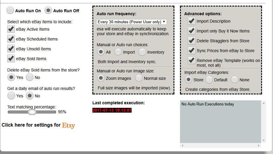 Auto Run Shopify or eBay