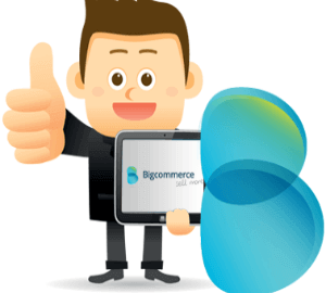 animated man holding a tablet displaying bigcommerce trial with one hand while giving it a big thumbs up with his other hand