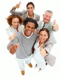 online sales conversions photo of five eBay and Shopify customers looking up at camera all giving a thumbs up