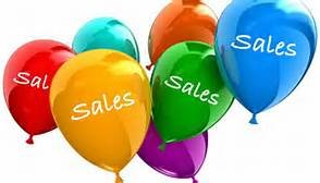 multi channel selling shown by seven different color balloons each with the word sales printed on it
