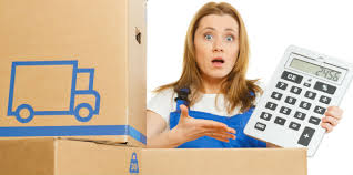 shopify or ebay seller with astonished look holding calculator next to boxes