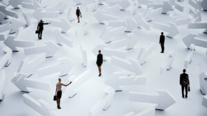 businesspeople with misconceptions about cross-channel selling lost in a maze