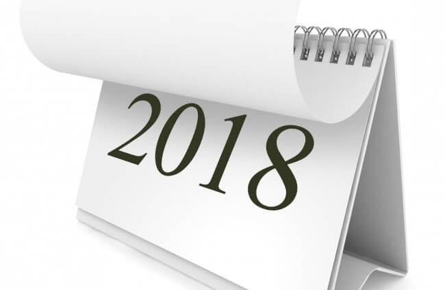 Calendar turning page to 2018 ecommerce sales