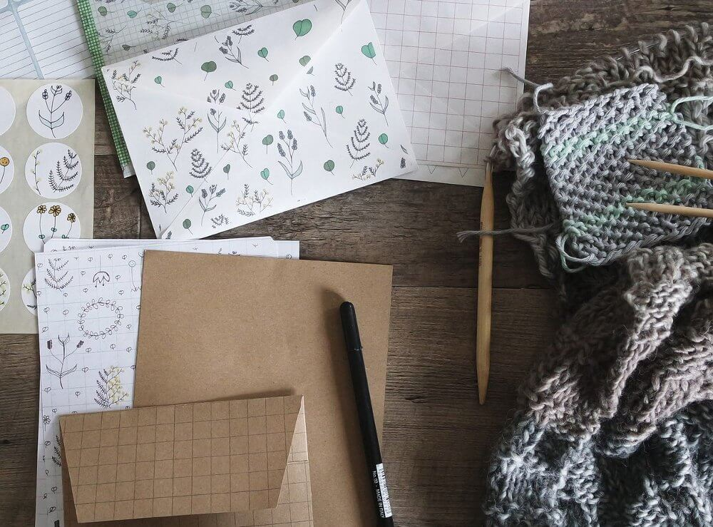photo of stationary and knitted goods to sell on etsy