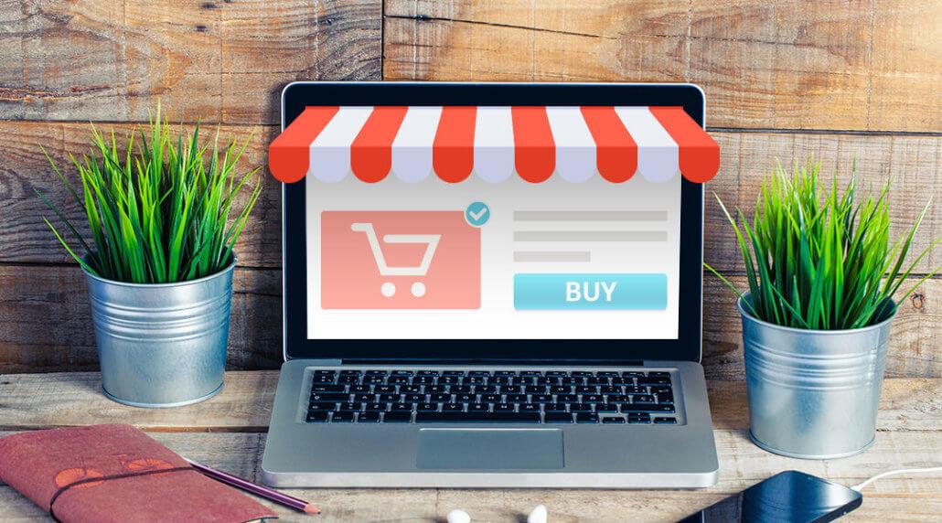 ecommerce seller computer mock storefront