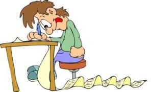 cartoon of man writing a long eBay product description