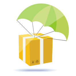 ecommerce dropshipping box with parachute cartoon