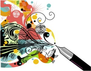 pen with colorful images flowing into online product descriptions