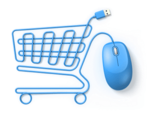 ecommerce store shopping cart with computer mouse