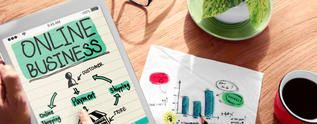 managing an online business graphic with charts and colors
