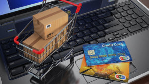 shopping cart, boxes, keyboard represent drive ecommerce sales