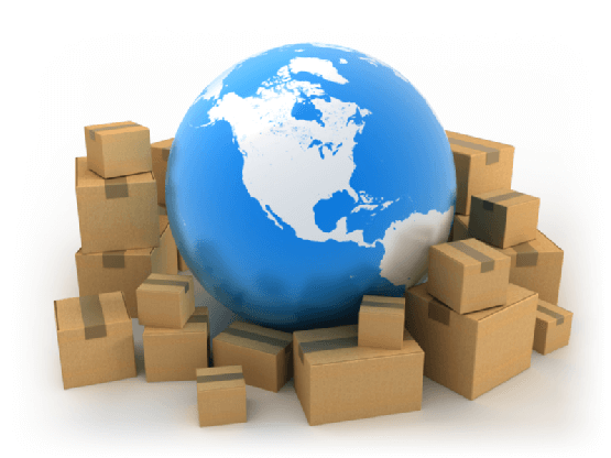 plan a shipping strategy represented by globe surrounded by boxes