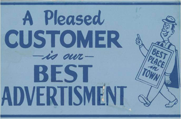 old time ad benefit of positive customer reviews
