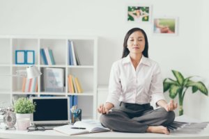 woman meditating busy online sellers
