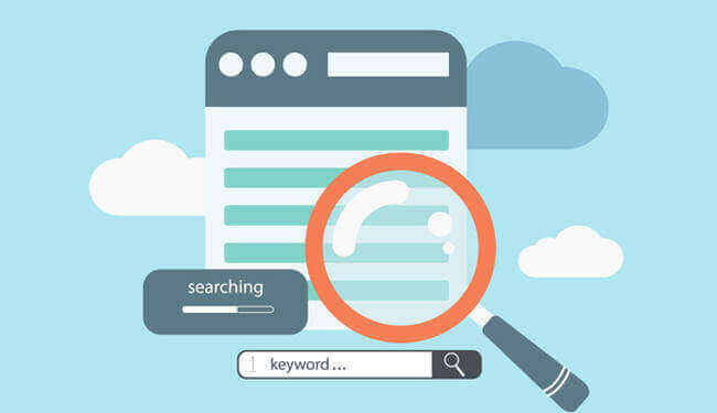 magnifying glass highlighting SEO keywords to sell