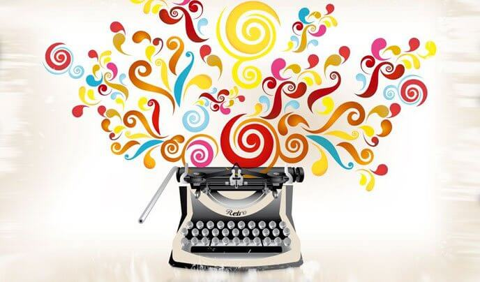 colorful typewriter writing an ecommerce blog