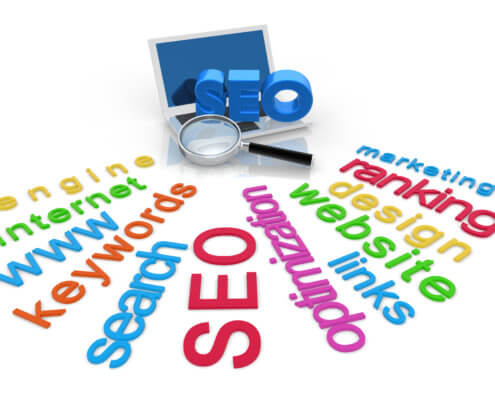 grahic with words indicating ecommerce SEO