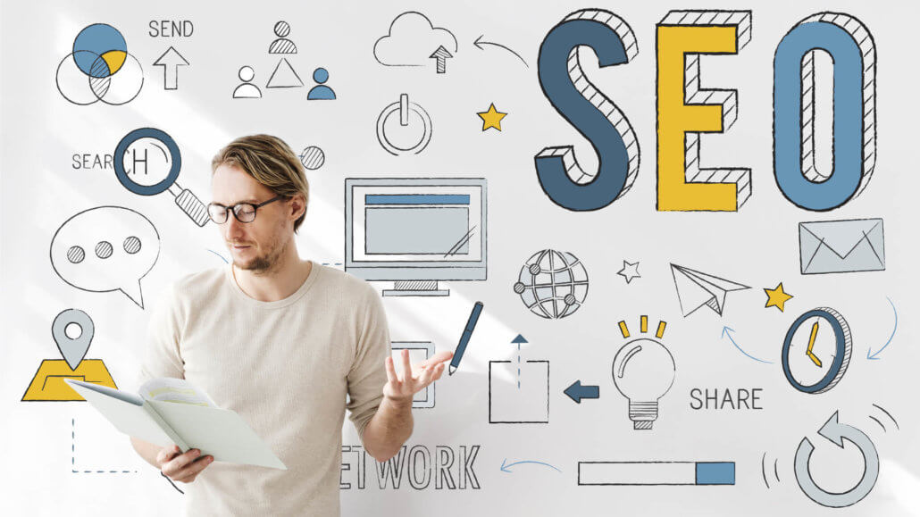 graphic with man thinking of ideas on how to improve your online store's SEO