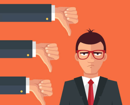 thumbs down graphic for negative customer reviews