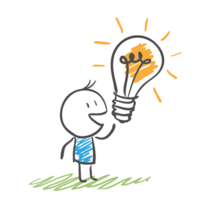 cartoon man with bulb representing ideas for your ecommerce blog