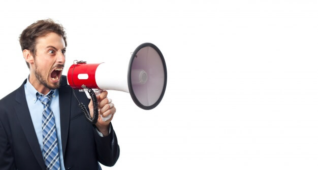 man shouting outbound ecommerce marketing through megaphone