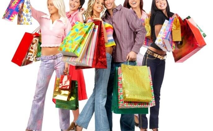 happy online shoppers with purchases
