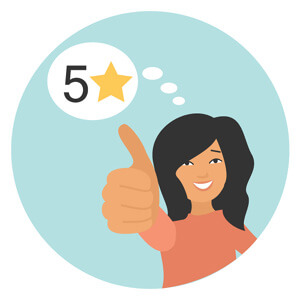 customer giving thumbs up and 5 stars