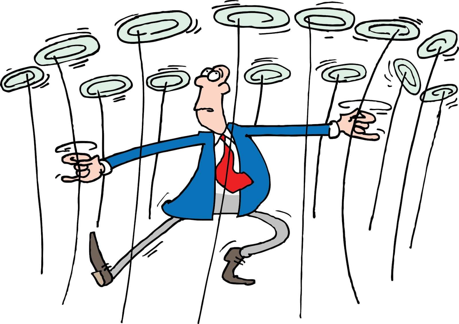 cartoon man spinning plates managing multiple eStores